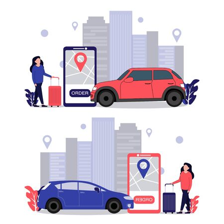 a woman is ordering car transportation online with an urban background Çizim