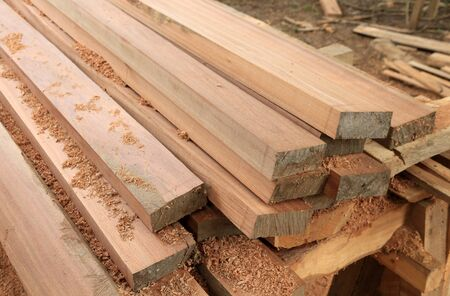 set of teak wood for construction building 版權商用圖片