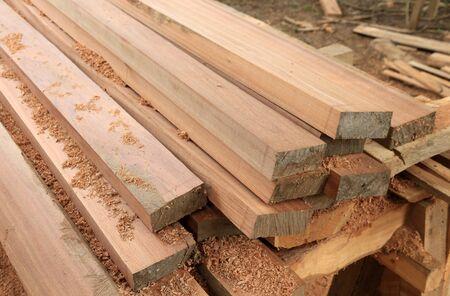 set van teak hout voor de bouw gebouw Stockfoto