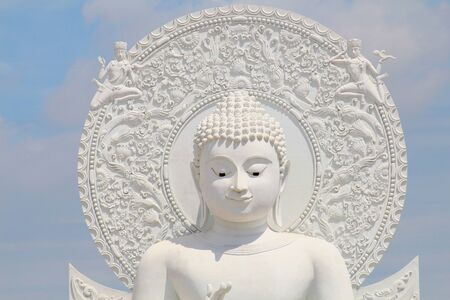 White Big Buddha monument in the gardening ,Thailand Stock Photo