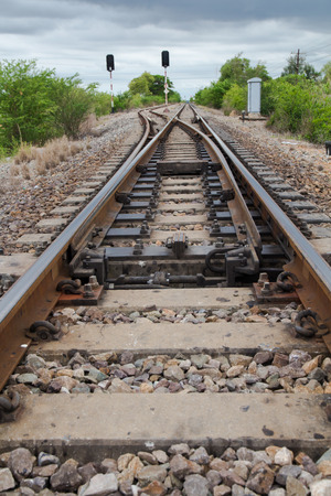 going in: view of the railway Railroad Tracks corssing and going in different directions