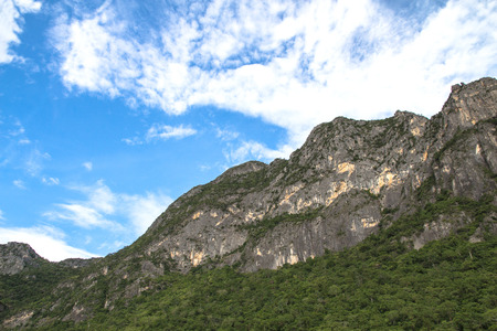Beautiful calcite mountain with blue sky at khao sam roi yod national park,thailand