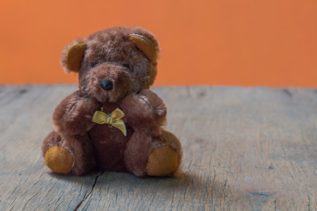 Cute teddy bears with old wood background (bear) Stock Photo