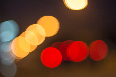 efectos especiales: Abstract defocused lights bokeh as light car on road background Foto de archivo