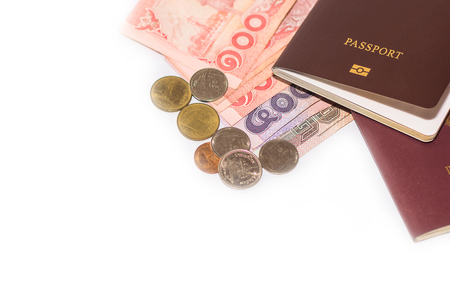 Thai Banknotes and electronic Thai passport,selective focus