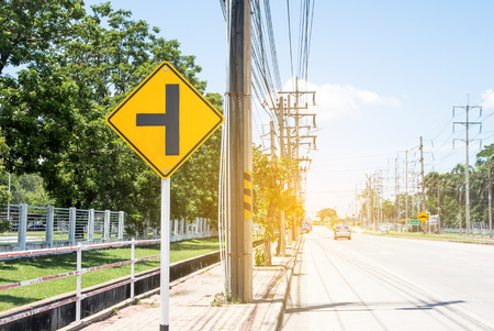 Traffic sign on road in the industrial estate,about travel safely