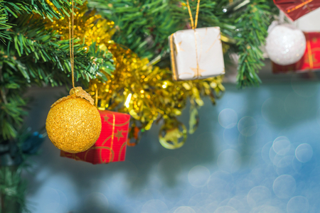 Beautiful Accessory Decorated Christmas tree,sparkling and fairy holiday bokeh background