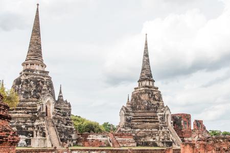 Sculpture Landscape of Ancient old pagoda is Famous Landmark old History Buddhist temple,Beautiful Wat Chai Watthanaram temple in ayutthaya Thailand Stock Photo