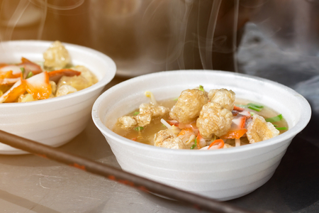 Noodle soup in bow foam one of street food is popular tourist fast food,Thailand Stock Photo