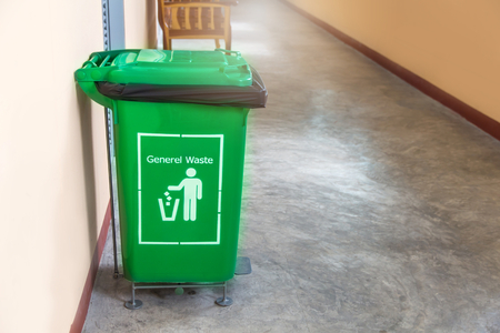 The green bin for recycle materials in hospital for good environment