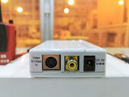 Electronic white box converter video to PC, Media converter module used in industry background