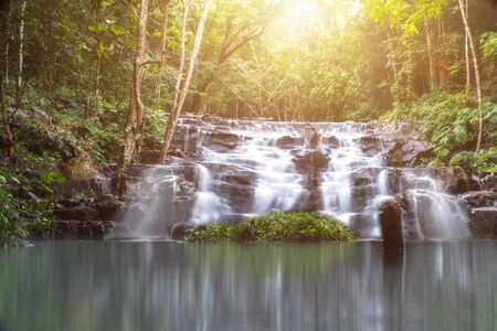 beautiful small waterfall in the wild with sun light,nature