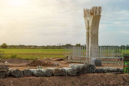 Construction site of the expessway pillar and scaffolding for stucture ,The infrastructure pole of the highway