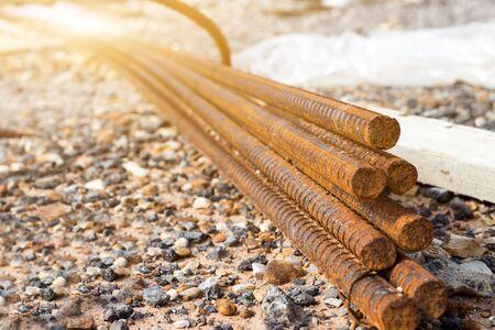barra d'acciaio per lavori di costruzione in calcestruzzo, malta in base strutturale, infrastrutturein Archivio Fotografico