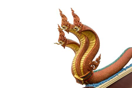 Serpent on white background, Naga stucco in traditional Thai temple Banco de Imagens - 131909229