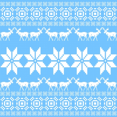 Christmas ornament pattern, blue nordic style  Vector illustration Vector