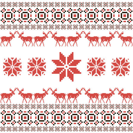 Christmas and Winter Norwegian seamless pattern  Vector illustration Vector