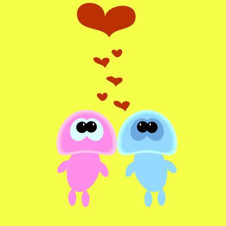 Pretty strange love of funny monsters. Vector illustration Illustration