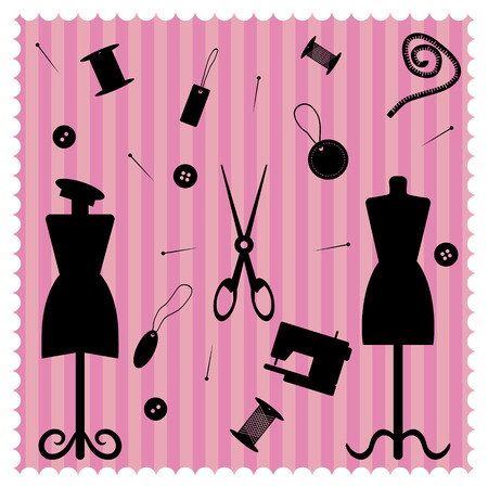 Set of objects for sewing in retro-style. Vector illustration