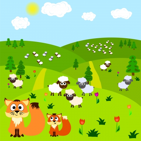 Cartoon background with fox and sheeps. Vector illustration Vector