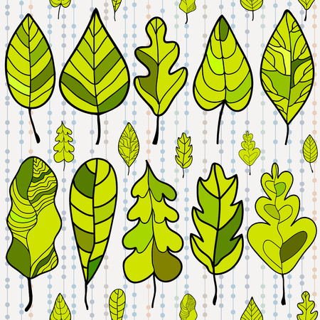 Seamless stylized leaf pattern on colored background  Decorative template texture with leaves  Vector illustration Vector