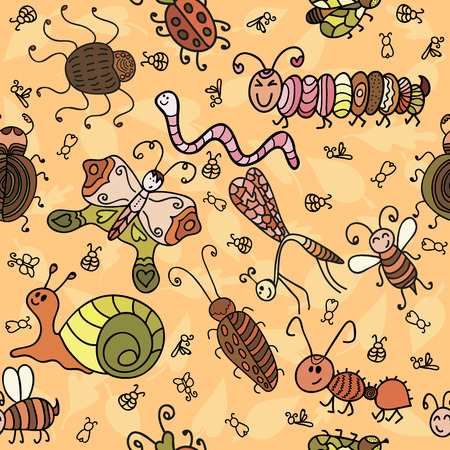 fireflies: Cartoon seamless pattern with cute insects and leaf. Vector illustration Illustration