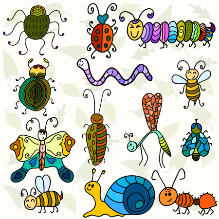 Cute bugs and funny insects. Vector illustration Vector
