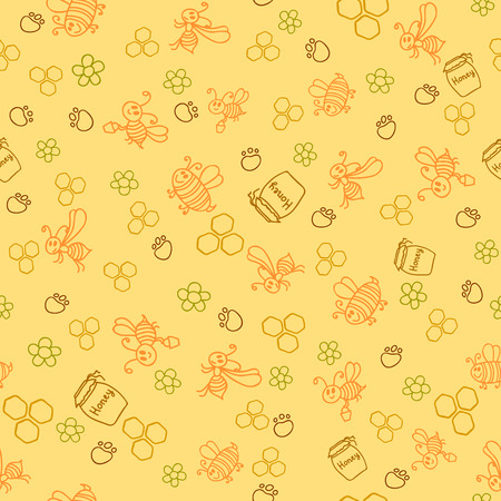 Seamless pattern with honey bees in a honeycomb. Vector illustration Vector