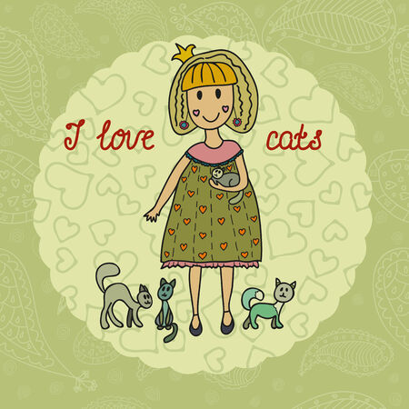 Cute small girl with her lovely cats. Vector illustration Vector