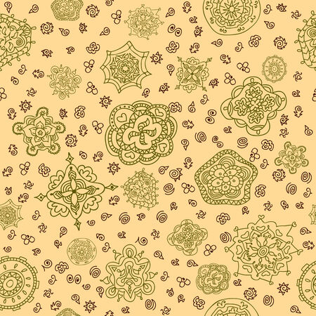 Abstract seamless pattern. Fabric texture with decorative flowers. Vector illustration Vector