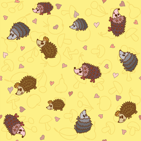 Seamless pattern with cute little hedgehogs. Vector illustration Vector