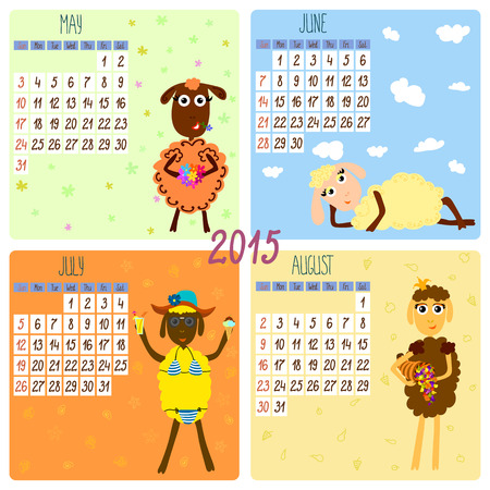 2015 calendar with funny sheep. Summer. Hand-drowing vector illustration Vector