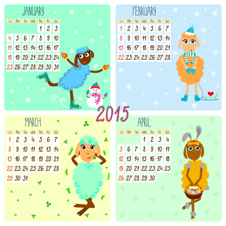 2015 calendar with funny sheep. Winter, spring. Hand-drowing vector illustration Vector