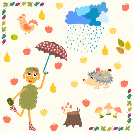 Set of cartoon autumn elements. Autumn background. Vector