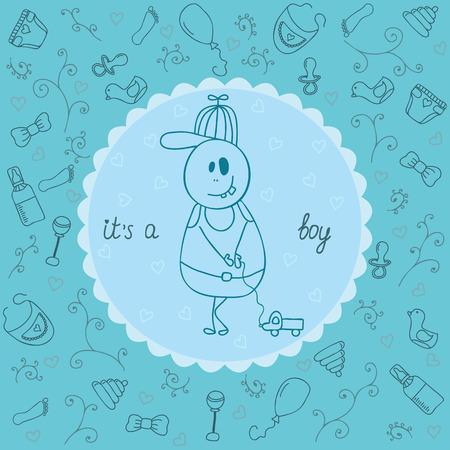 its a boy: Its a boy greeting card. Vector illustration