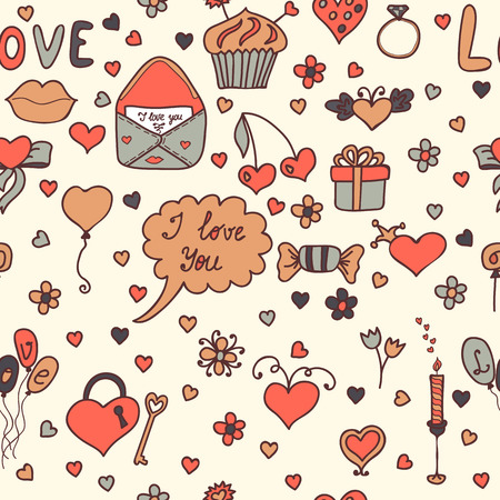 Romantic seamless pattern. Lovely background in cartoon style. Vector illustration Vector