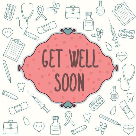 Get well soon card. Vector