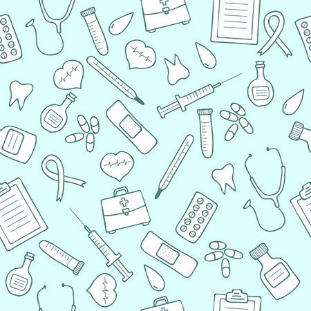 Doodle medical seamless pattern.