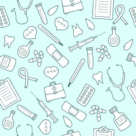 Doodle medical seamless pattern.