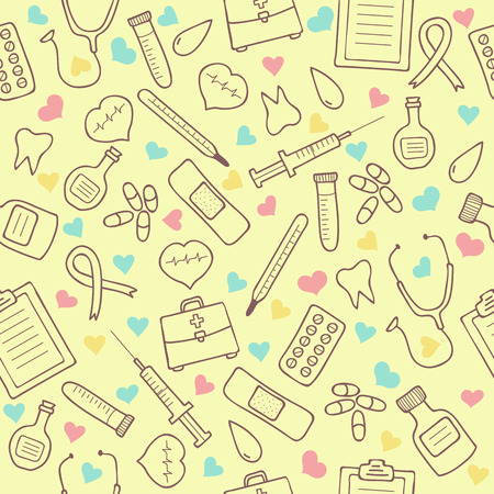 first aid sign: Seamless doodle medical pattern with colored hearts. Vector Illustration