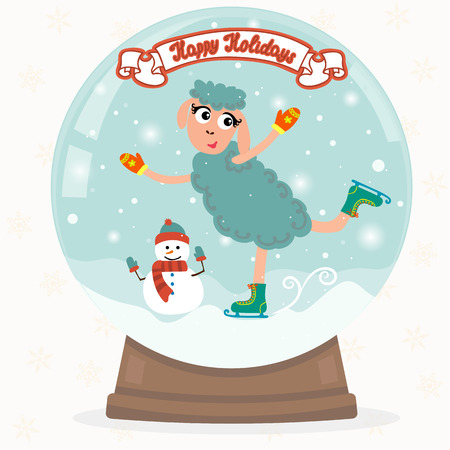 christmas snow globe: Christmas snow globe with funny sheep. Happy Holidays. Vector illustration Illustration