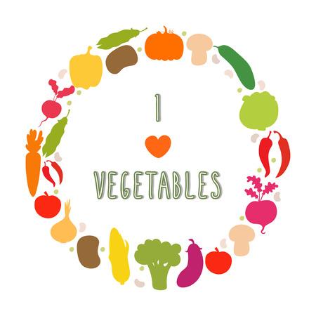 I love vegetables.  Healthy food. Vector illustration