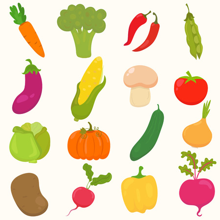 Set of hand drawn, cartoon vegetables. Vector illustration 向量圖像