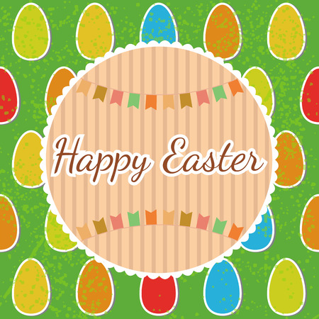 Happy Easter! Greeting card with eggs. Happy Easter postcard. Vector illustration Vector