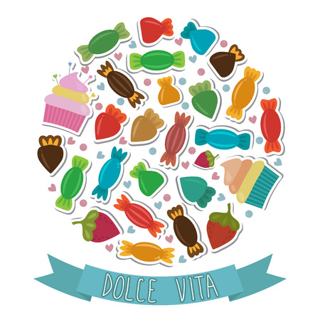 Dolce vita. Collection of cute colorful sweet candies. Vector illustration