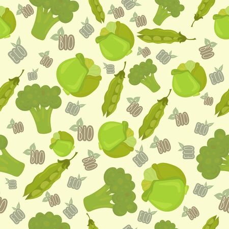 green peas: Seamless pattern with cabbage, green peas, broccoli. Eco, bio background. Vector illustration
