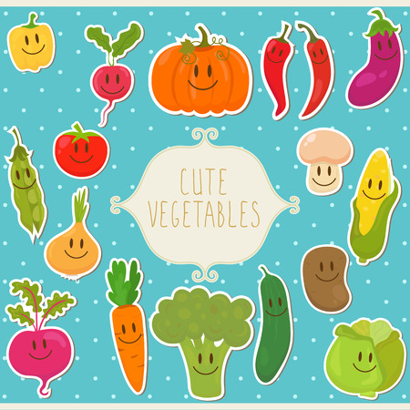 Cute cartoon vegetables with frame. Vector illustration Vectores