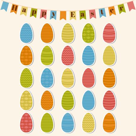 Happy Easter. Easter eggs. Set of Easter elements. Vector illustration Vector