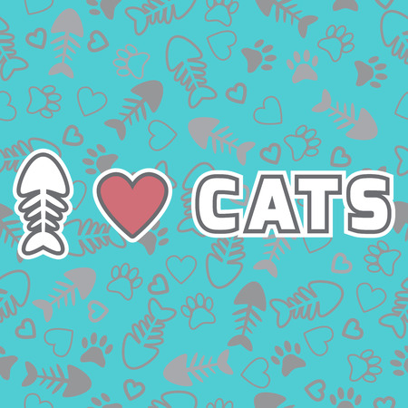 I love cats card. Cute background with cat paw prints and hearts. Vector illustration Vector
