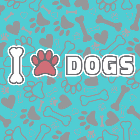 I love dogs. Background with animal footprints and bone. Vector illustration Vector